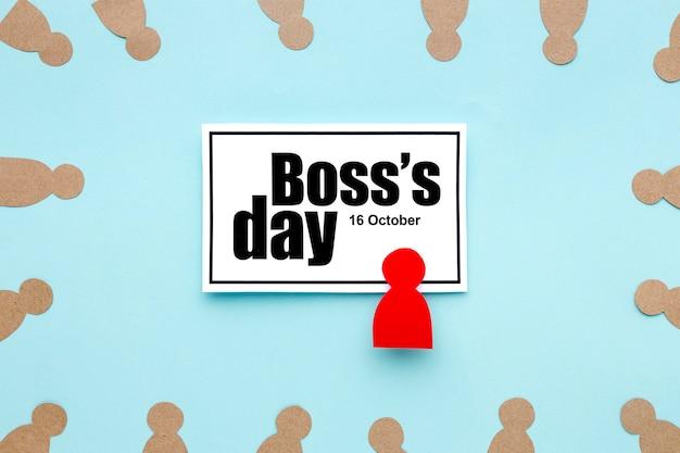 Вид сверху концепции босс день