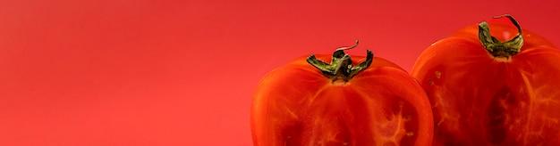コピースペースとクローズアップの有機トマト