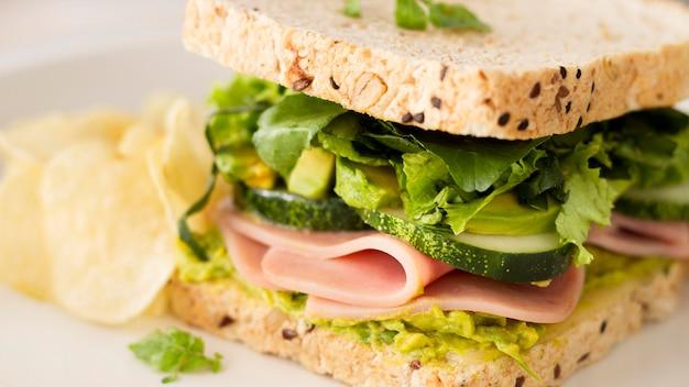 Крупным планом свежий сэндвич