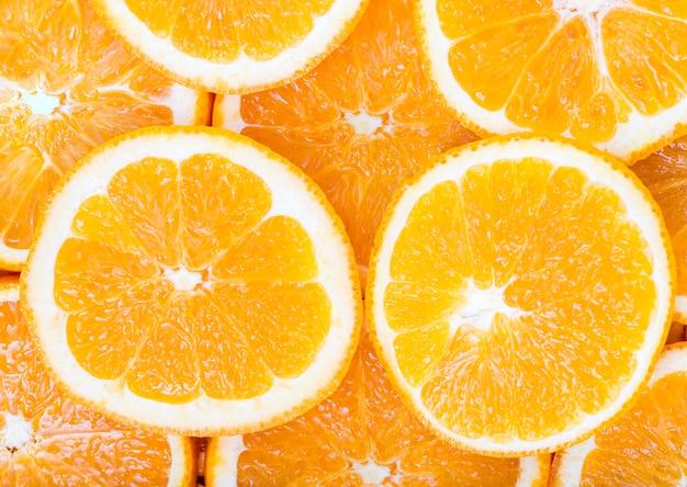オレンジのクローズアップスライス