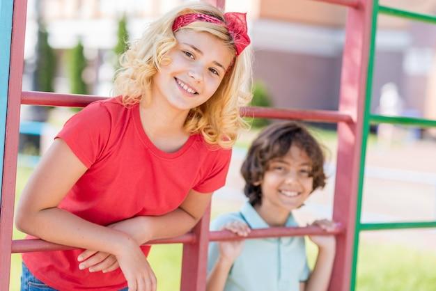 公園で若い友達