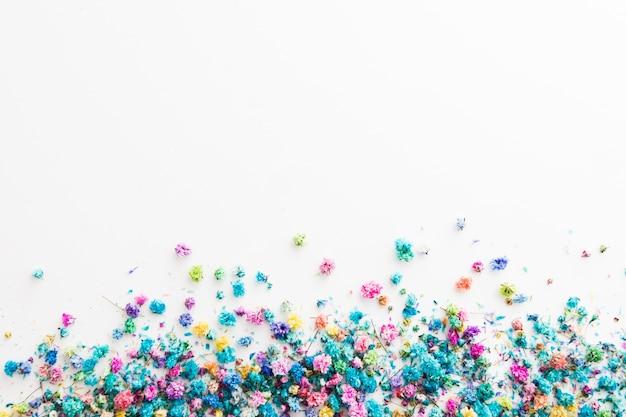コピースペースとカラフルな花のトップビュー