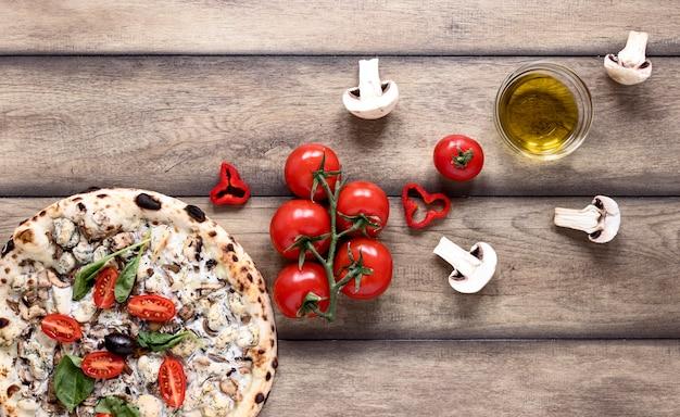 野菜と上面のピザ