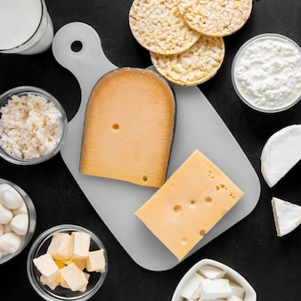 上から見る乳製品の構成
