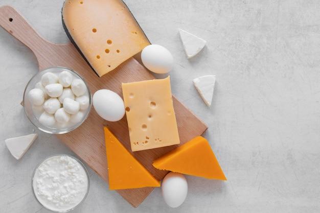 ビューの上の乳製品の配置