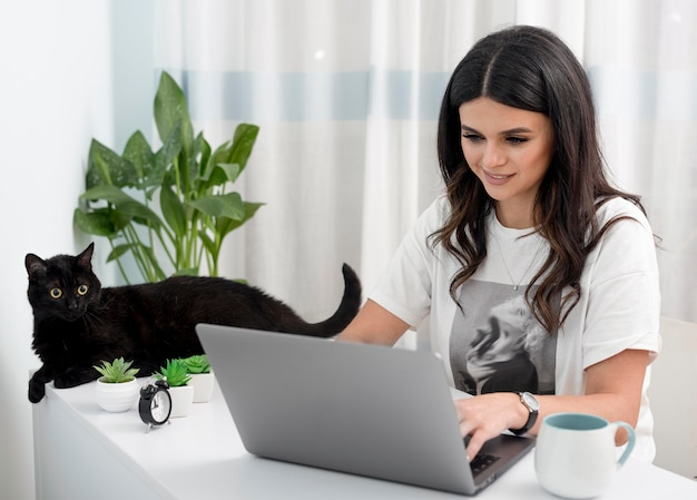 女性の自宅のデスクでの作業と猫