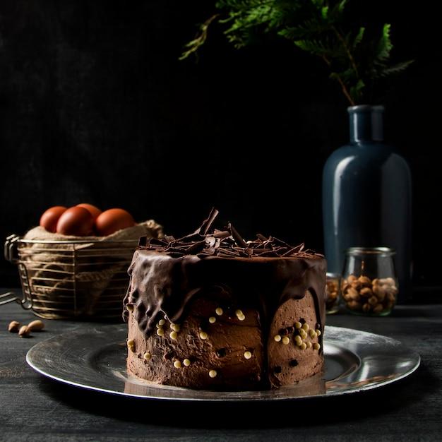 クローズアップチョコレートケーキ