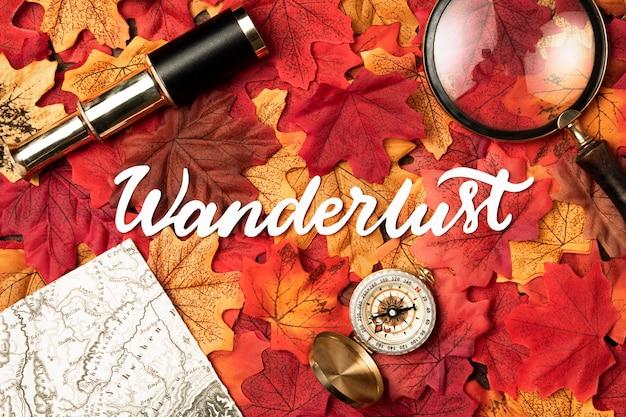 葉と秋の旅行レタリング