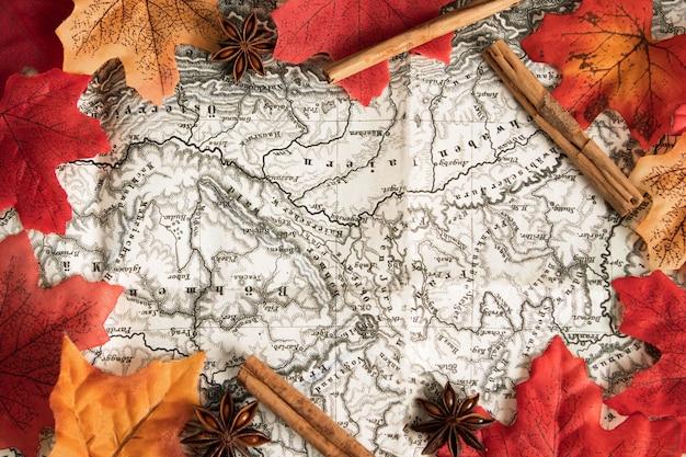Карта вида сверху в окружении осенних листьев