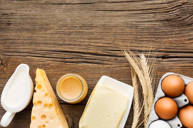 Вид сверху молочные продукты