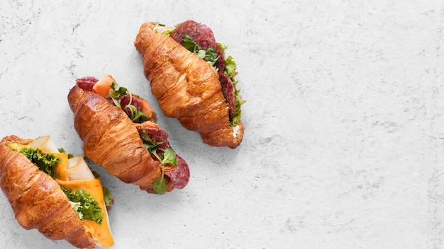 Плоские лежали свежие сэндвичи ассортимент с копией пространства