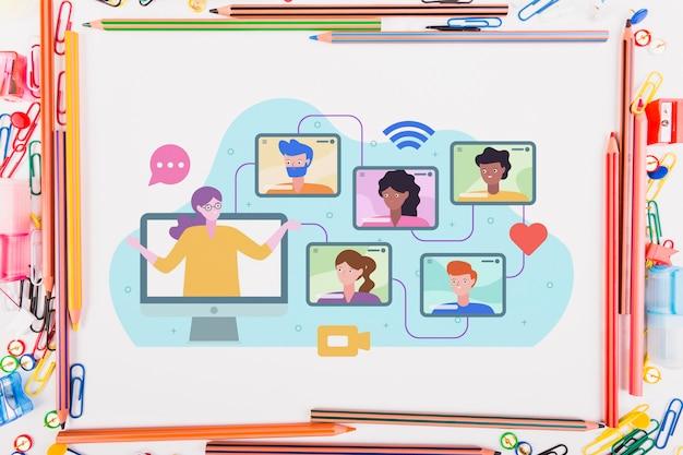 Электронное обучение иллюстрация на бумаге рядом с элементами образования
