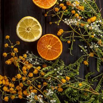 Вид сверху цветов с цитрусовыми