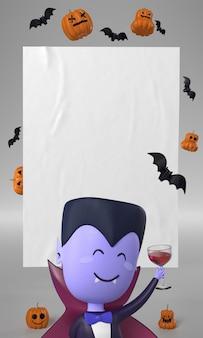 Дракула и украшение из тыквы на хэллоуин