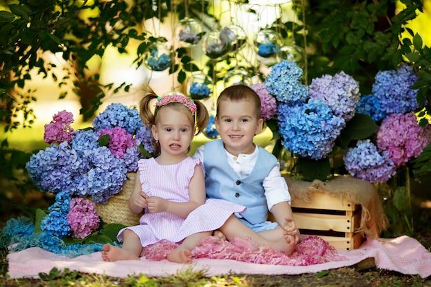 Мальчик и девочка сидят на траве на природе с букетами цветов гортензии. брат и сестра обнимаются и смеются