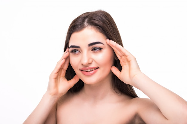 Здоровая кожа красивая женщина лицо крупным планом чистой кожи красоты пластической хирургии изолированные