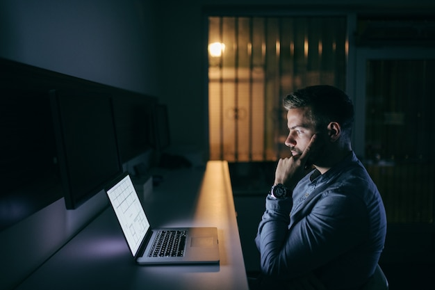 Молодой обеспокоенный бородатый кавказский бизнесмен смотрит на ноутбук и находит решение проблемы, сидя поздно ночью в офисе