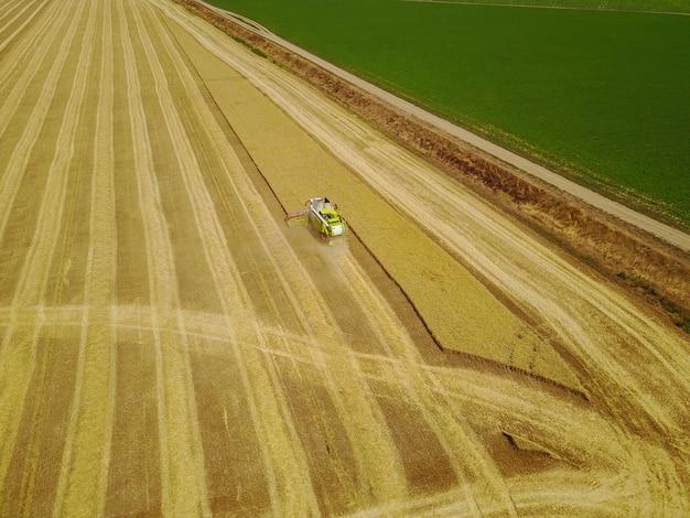 Воздушная съемка желтой жатки работая на пшеничном поле.