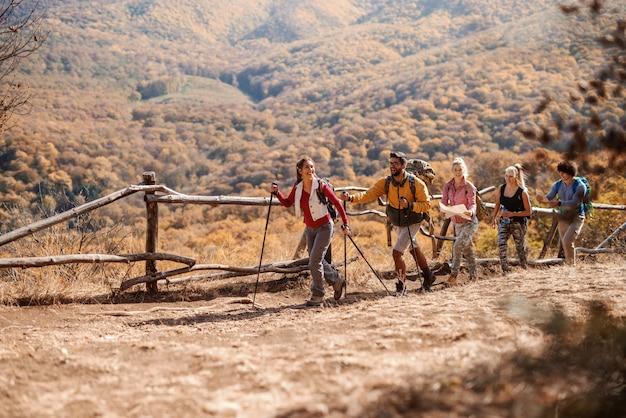 生で歩きながら秋の自然を探索するハイカーの小グループ。山と森を背景に