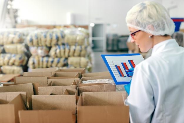 無菌の制服を着た女性従業員と箱入りの製品を数える手にあるチャート。食品工場のインテリア。