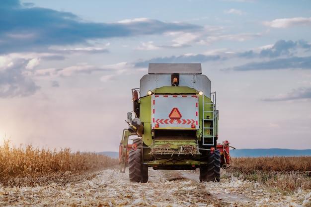 Вид сзади современной жатки управляя кукурузным полем ринва в осени.