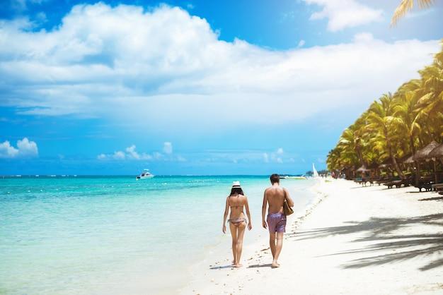 Вернуться мнение пара, прогуливаясь по побережью, наслаждаясь хорошее время