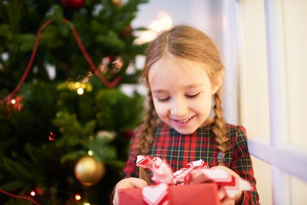 クリスマスプレゼントを開く