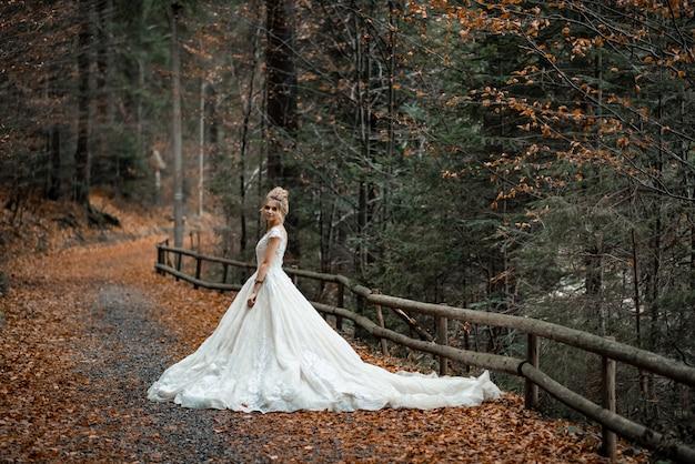 Красивая белокурая невеста в легком шифоновом свадебном платье, позирующем около гор