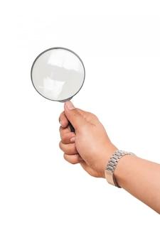 分離された拡大鏡を押しながら手を保持している腕時計