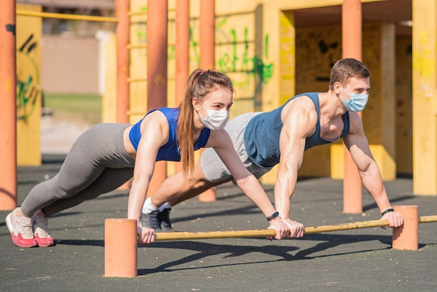 Тренировка на открытом воздухе во время пандемии