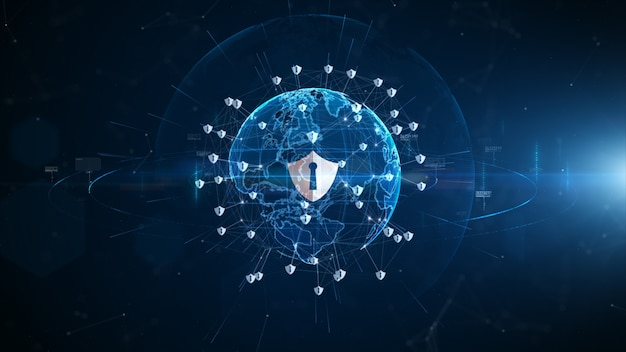 Кибер-безопасность значка экрана, защита сети цифровых данных, соединение данных цифровой сети технологии, концепция предпосылки цифрового киберпространства будущая.