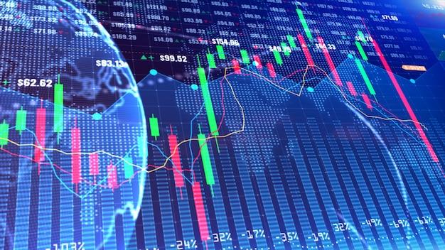 金融投資に適したデジタル株式市場または外国為替取引のグラフとローソク足チャート。事業背景の金融投資動向