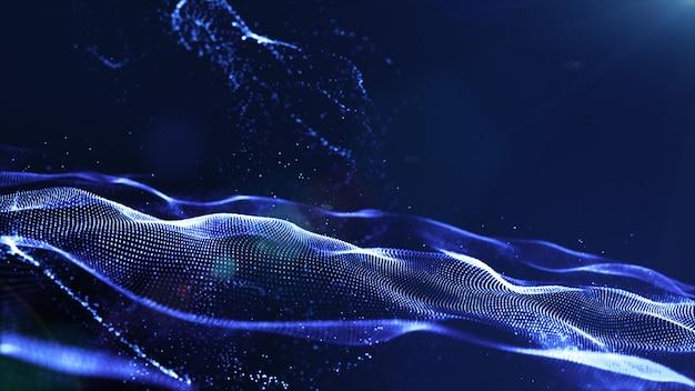 抽象的な青い色デジタル粒子波とほこりと明るい背景