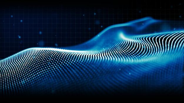 抽象的な青い色デジタル粒子波背景