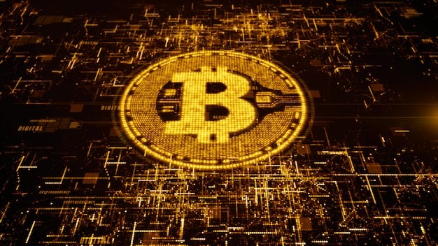 ビットコイン通貨デジタルサイバースペース、ビジネスおよび技術の概念にサインインします。