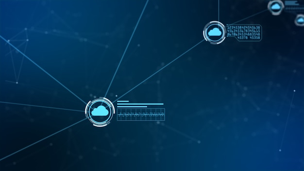 安全なグローバルネットワークデジタルクラウドコンピューティングのサイバーセキュリティの概念