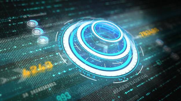 ハイテクグラフィックの未来的なユーザーインターフェースはデジタルデータと情報ディスプレイでディスプレイスクリーンをヘッドアップ