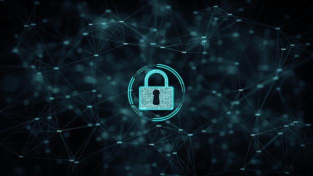 Кибербезопасность и защита информационной сети со значком замка.