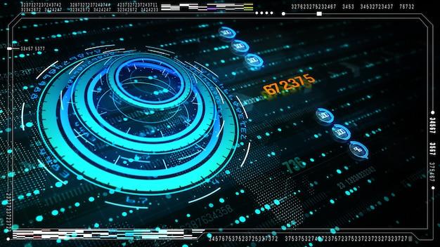ハイテク未来的なユーザーインターフェースはデジタルデータとデジタルのための情報ディスプレイでディスプレイスクリーンを見上げます。