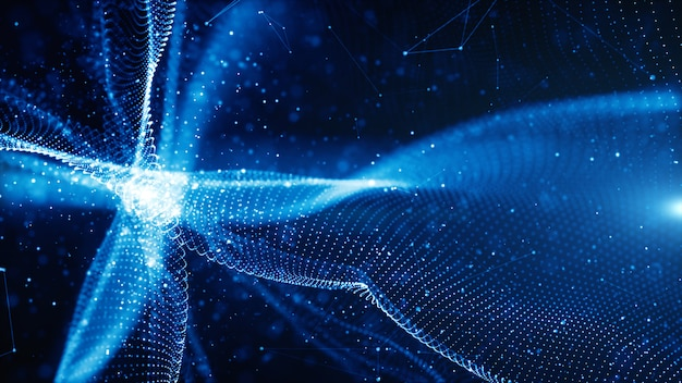 Цифровые частицы волнового потока и твист абстрактного движения технологии фон концепции