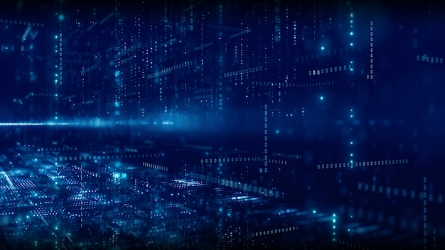 粒子とデジタルデータネットワーク接続の概念とデジタルサイバースペース