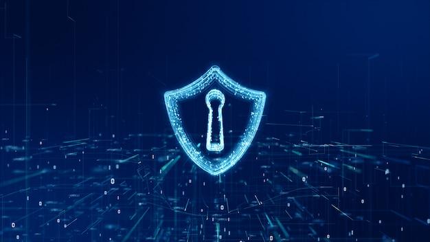 サイバーセキュリティ、デジタルデータネットワーク保護、未来技術ネットワーク概念のシールドアイコン。