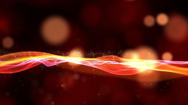Цифровой поток частиц волны с боке абстрактного фона