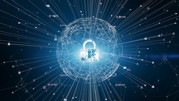 Зафиксируйте безопасность кибер значка, защиту сети цифровых данных, будущую концепцию предпосылки сети технологии.