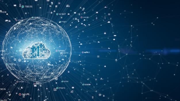 Безопасная цифровая сеть передачи данных. концепция кибербезопасности цифровых облачных вычислений