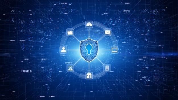 セキュリティで保護されたグローバルネットワーク、サイバーセキュリティおよび情報ネットワーク保護、ビジネスおよびインターネットマーケティングの概念のための将来の技術ネットワークのシールドアイコン