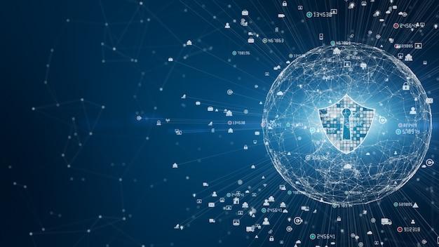 Значок щита в безопасной глобальной сети, кибербезопасность и защита информационной сети, будущая технологическая сеть для бизнеса и концепция интернет-маркетинга