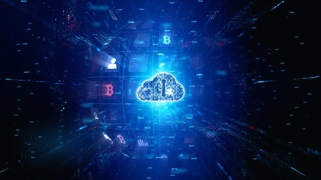 安全なデジタルデータネットワーク。デジタルクラウドコンピューティングのサイバーセキュリティ。技術コンセプト。