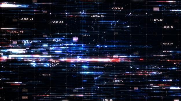 デジタルサイバースペースとデジタルデータネットワーク接続、技術の抽象的な背景