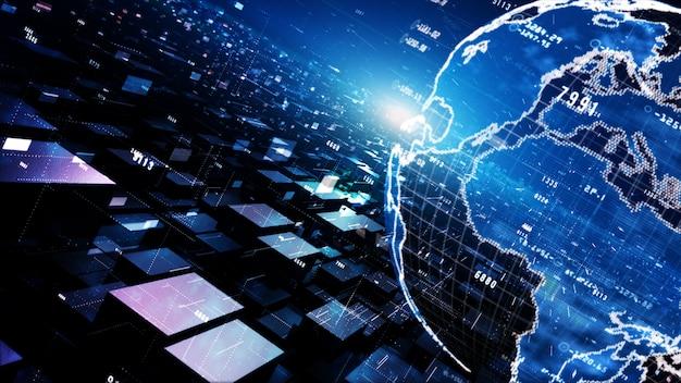 粒子、デジタルデータネットワーク接続およびサイバーセキュリティの概念と幾何学的なデジタルサイバースペース。